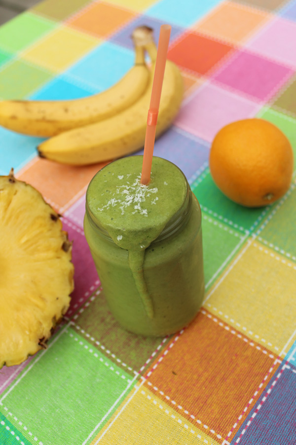 Banana Orange Pineapple Green Smoothie