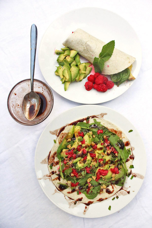 Avocado-Raspberry Wrap with Chocolate Vinaigrette